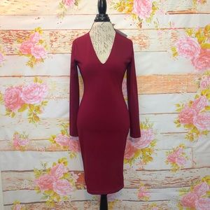 NWT! Olivaceous Plunge Silk Blend Dress